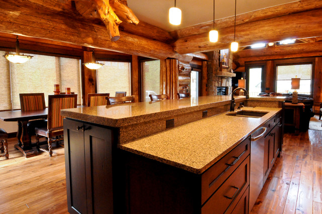 Western red cedar ranch style log home rustic kitchen for Western ranch style homes