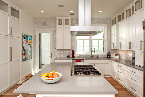Two Tone Countertops Ideas White Cabinets