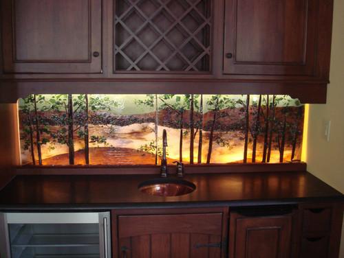 Backlit Glass Mural In Lake Scene Theme Designer Glass