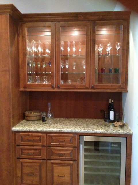 Exceptionnel Wet Bar Base And Upper Cabinet With Custom Glass Doors Mediterranean Kitchen