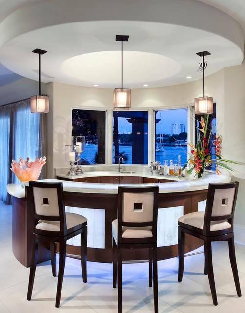 Bar Ideas Contemporary Home Bar Design With Semi Circle: By W.A. Bentz