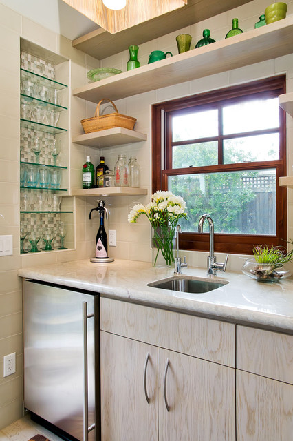 Wet Bar with tiled niche for glassware and floating shelves traditional-kitchen