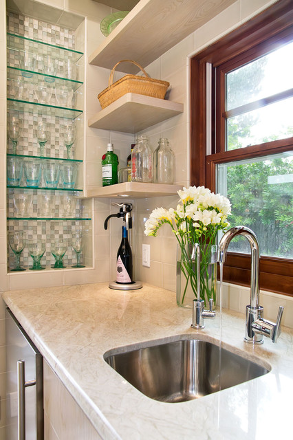 Wet Bar With Tiled Niche For Glassware And Floating