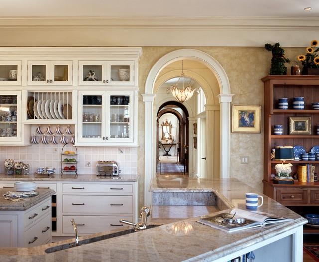 Large Elegant U Shaped Light Wood Floor Open Concept Kitchen Photo In  Atlanta With Beaded Part 44