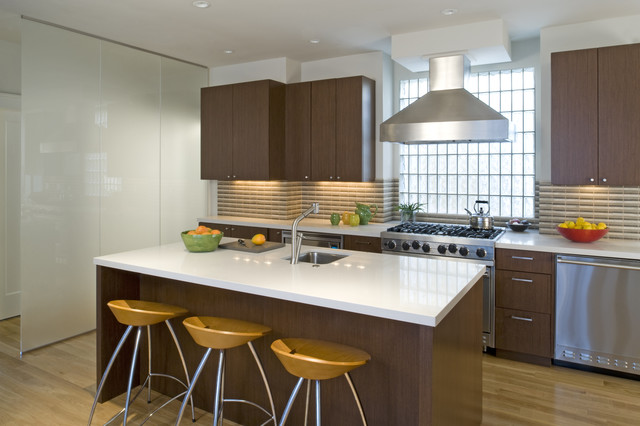 Trendy kitchen photo in San Francisco with stainless steel appliances, flat-panel cabinets, dark wood cabinets and multicolored backsplash