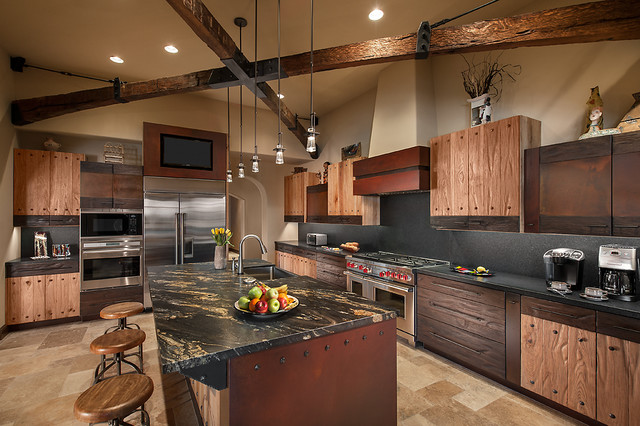 Inspiration For A Southwestern L Shaped Kitchen Remodel In Phoenix With  Flat Panel Cabinets Part 59