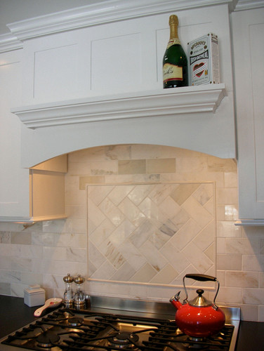 Amazing White Accent Tile Herringbone Pattern Traditional Kitchen