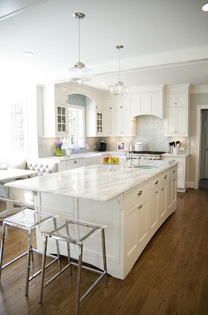 Gentil White And Aqua Kitchen Traditional Kitchen