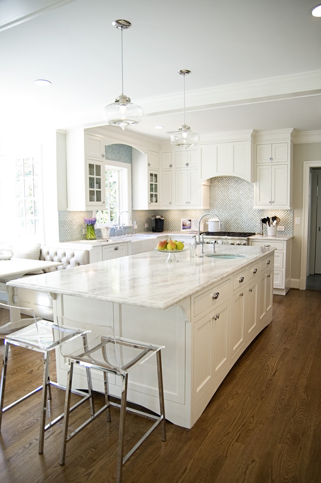Inspiration for a timeless eat-in kitchen remodel in DC Metro with recessed-panel cabinets and white cabinets