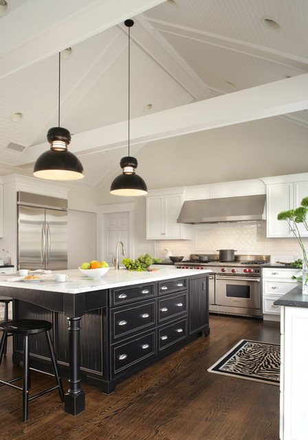 White And Black Low Country Kitchen Transitional New York By Thyme Place Design Llc Houzz