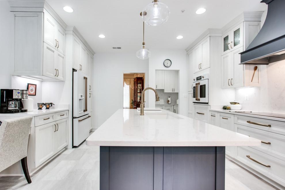 White & Blue Contemporary Kitchen Design Frederick, MD ...