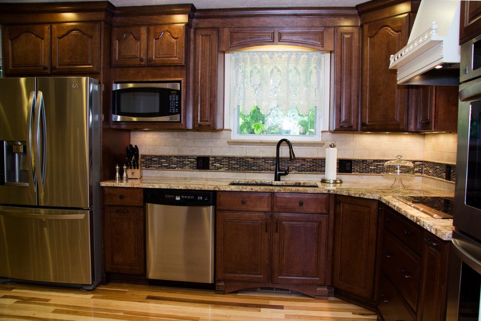 White & Brown Maple Cabinets - Traditional - Kitchen ... on Light Maple Cabinets With White Countertops  id=21594