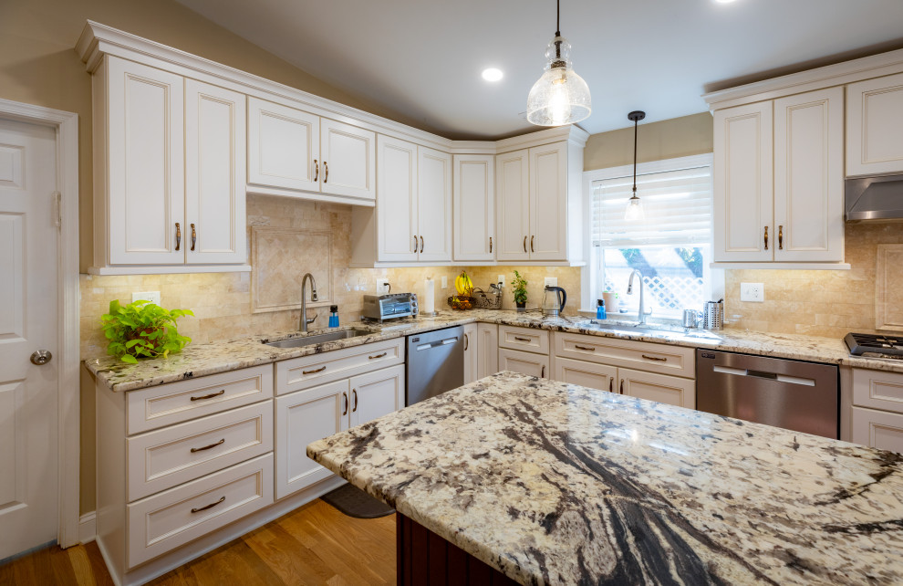 White & Burgundy Kitchen Design Richmond, VA ...