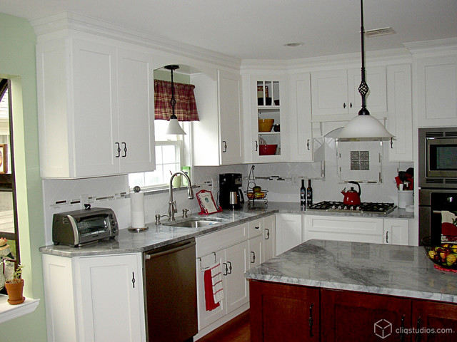 White and cherry kitchen cabinets mission cabinetry for White mission style kitchen cabinets
