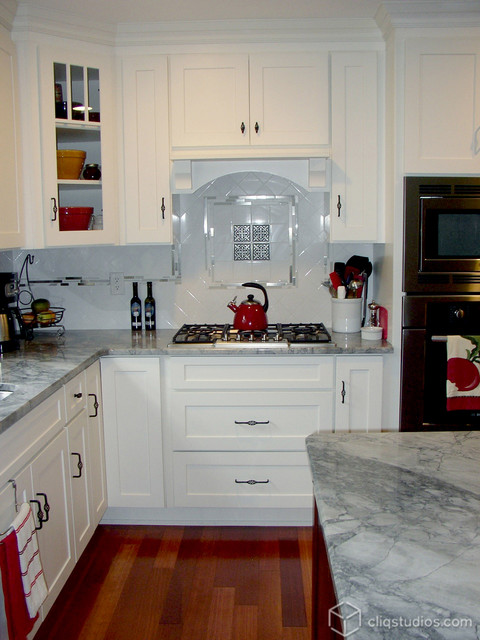 White and Cherry Kitchen Cabinets | Mission Cabinetry | CliqStudios - Contemporary - Kitchen ...