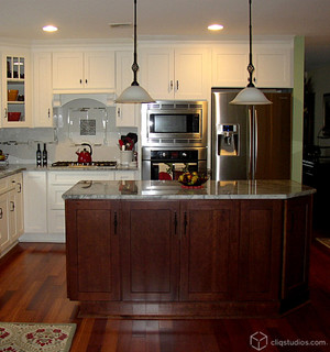White and Cherry Kitchen Cabinets   Mission Cabinetry ...