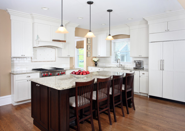 Transitional White Kitchen white and cherry transitional style kitchen - traditional