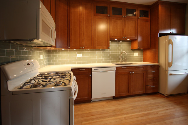 white and cherry wood kitchen remodel contemporary kitchen - Kitchen Remodel With White Appliances
