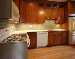 White and Cherry Wood Kitchen Remodel contemporary kitchen