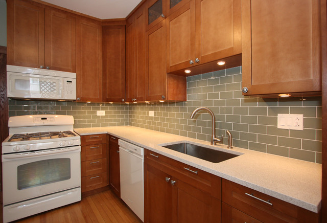 White and Cherry Wood Kitchen Remodel - Contemporary - Kitchen - Chicago - by Design Build 4U ...