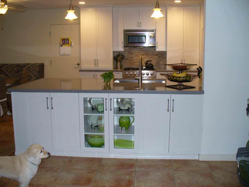 White and Gray Kitchen with Green Accents