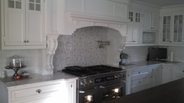 White And Gray Lace Ceramic Subway Tile Backsplash Traditional Kitchen