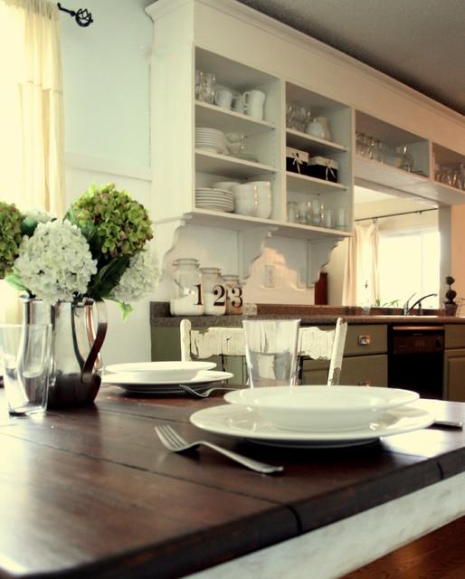 White & Green Cottage Kitchen traditional-kitchen