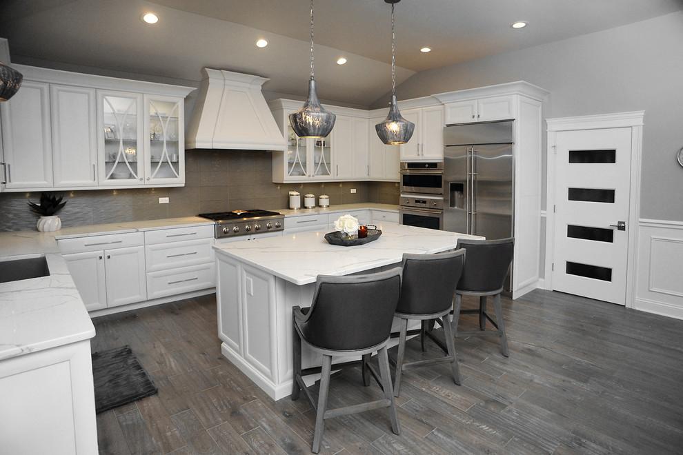 White and Grey Designer Kitchen - Traditional - Kitchen ...