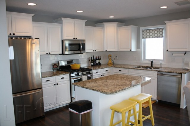 White And Grey Traditional Kitchen white and grey kitchen with yellow accents