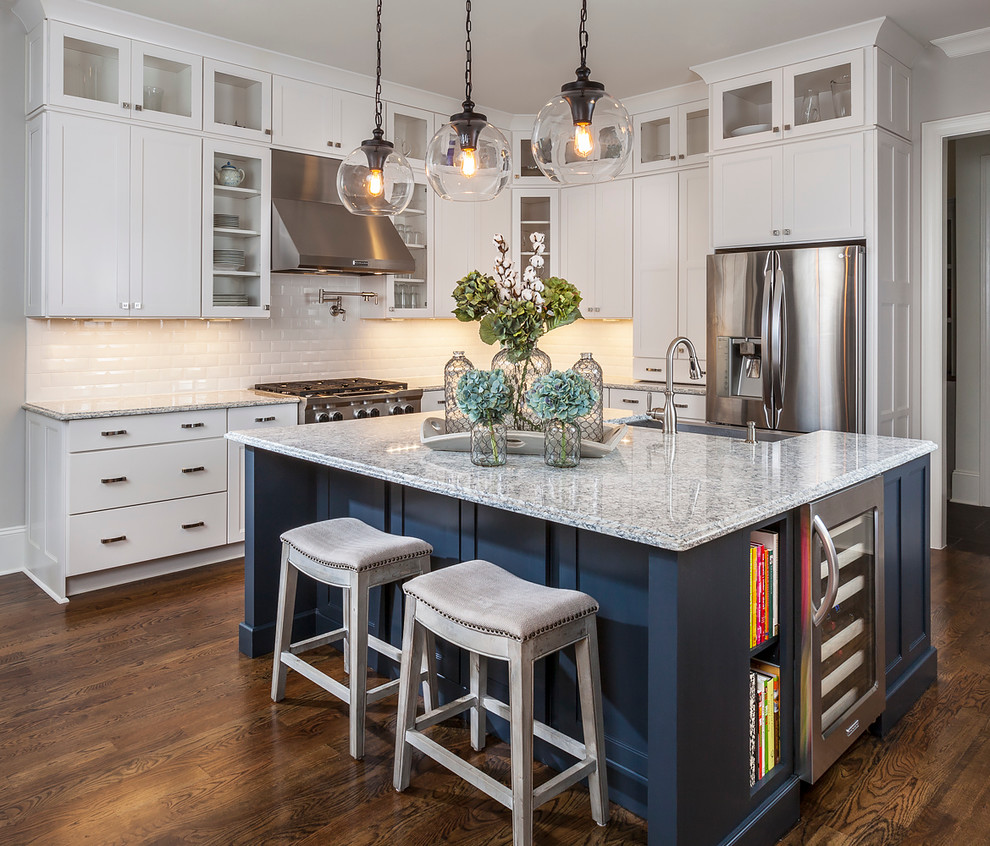 White and Navy Kitchen with Marble - Transitional ...