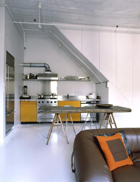 white and orange modern-kitchen
