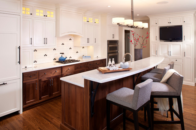 White And Walnut Kitchen Transitional Kitchen
