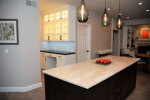 Taj Mahal countertops with darker tones