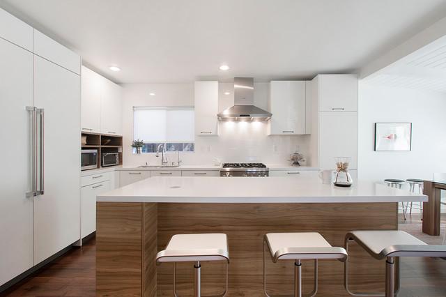 White And Warm Wood Grain Modern Kitchen Contemporary