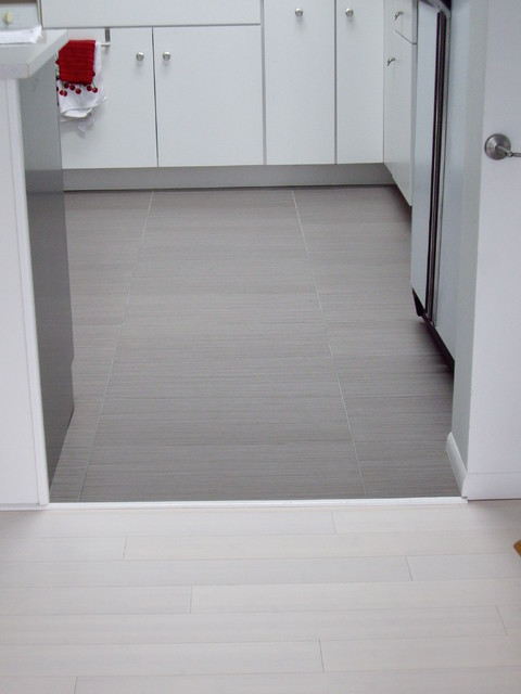 White Bamboo Floor And Linen Like Gray Ceramic Tile With Radiant