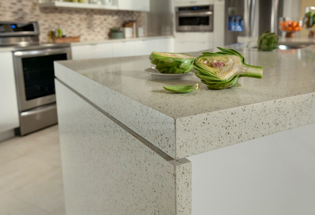 Ordinaire White Birch GEOS Recycled Glass Surface Kitchen Contemporary Kitchen