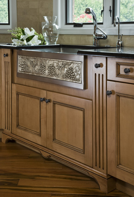 White Bronze/Stainless Farm Sink with Grapevine Pattern traditional-kitchen
