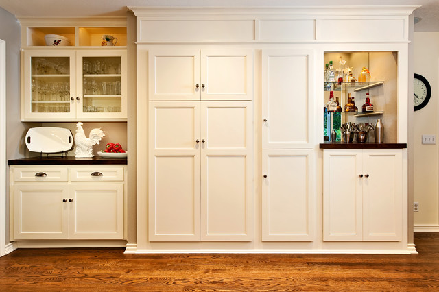 White built-in kitchen cabinet and pantry - Traditional ...