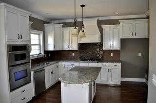 White Cabinet Kitchen With Tile Backsplash Contemporary