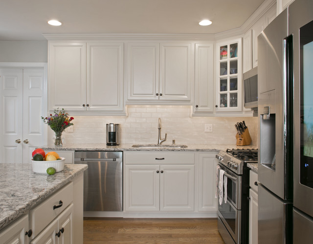 White Cabinetry with Praa Sands Cambria