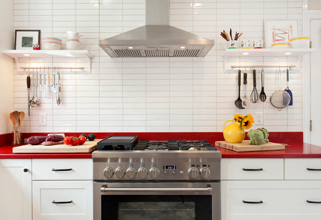 White Cabinets And RED Countertops Scandinavian Kitchen Bridgeport By