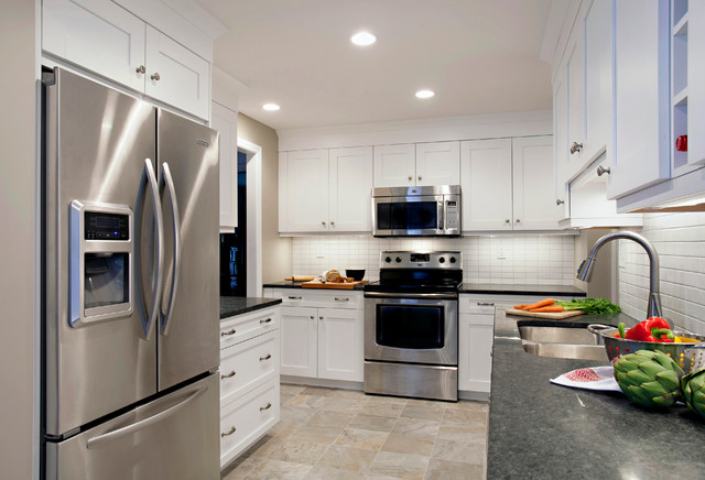 White Cabinets And White Backsplash Tile With Punches Of Steel Gray  Transitional Kitchen