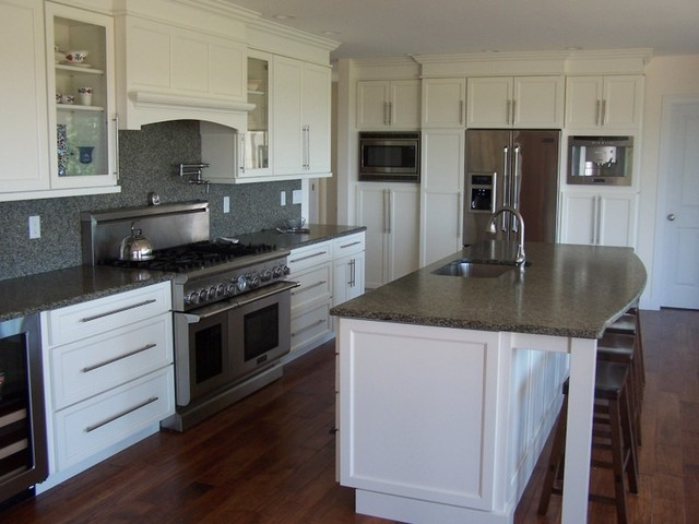 White cabinets; antiqued silver sea green  Modern  Kitchen  other