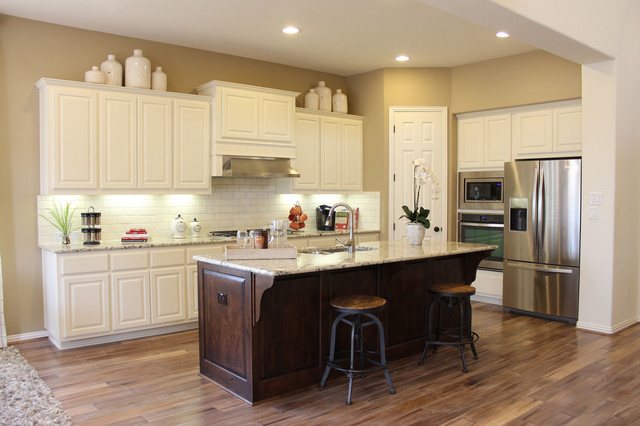 White Cabinets Dark Stained Island By Burrows Cabinetstraditional Kitchen Austin