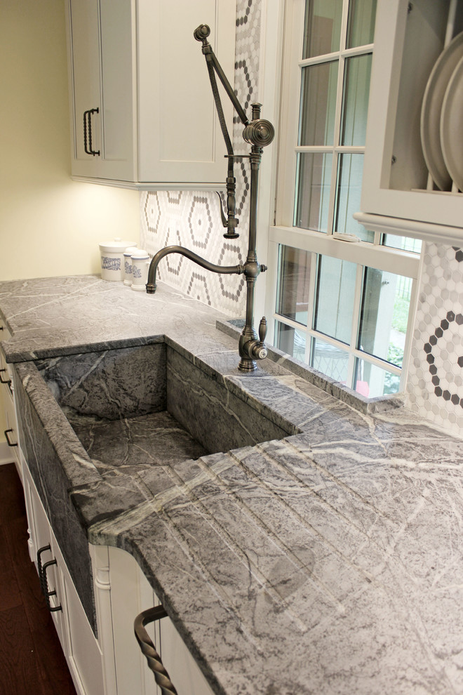 White Cabinets Grey Countertops And Edgy Tile Backsplash Transitional Kitchen Cleveland By Cabinet S Top