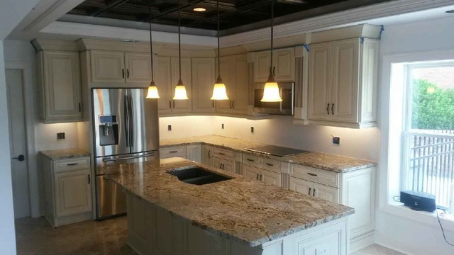 White Cabinets With Lapidus Granite transitional-kitchen