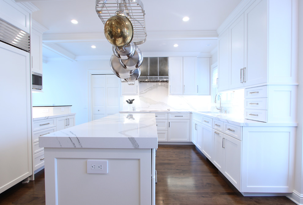 White Cabinets with Marble Looking Quartz Countertop ...