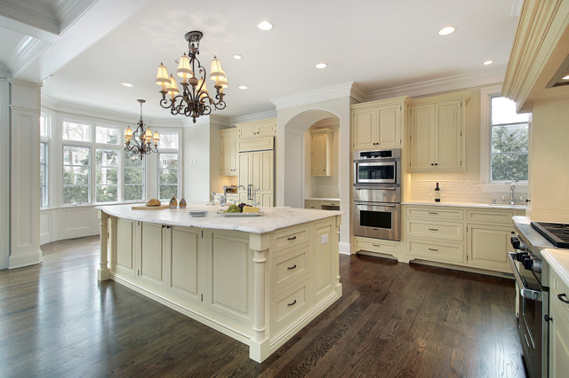 White Carrara Marble Countertop Traditional Kitchen