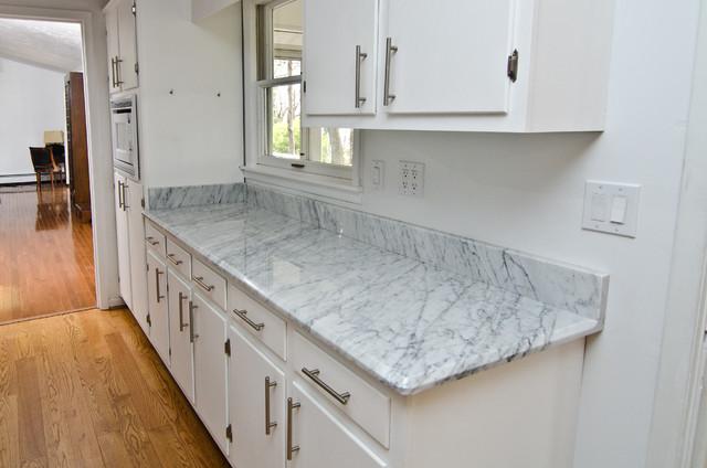 White Carrara Marble Kitchen Traditional Dc