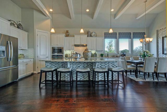 White Ceiling Beams Modern Kitchen Austin By Modeldeco